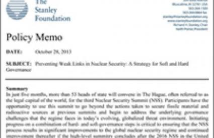 Preventing Weak Links in Nuclear Security: A Strategy for Soft and Hard Governance