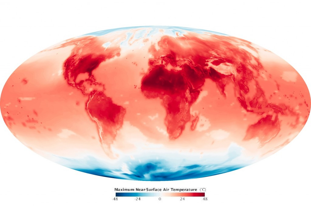 Global Temperatures in June 2099 as Projected by NASA, Source: NASA Earth Observatory